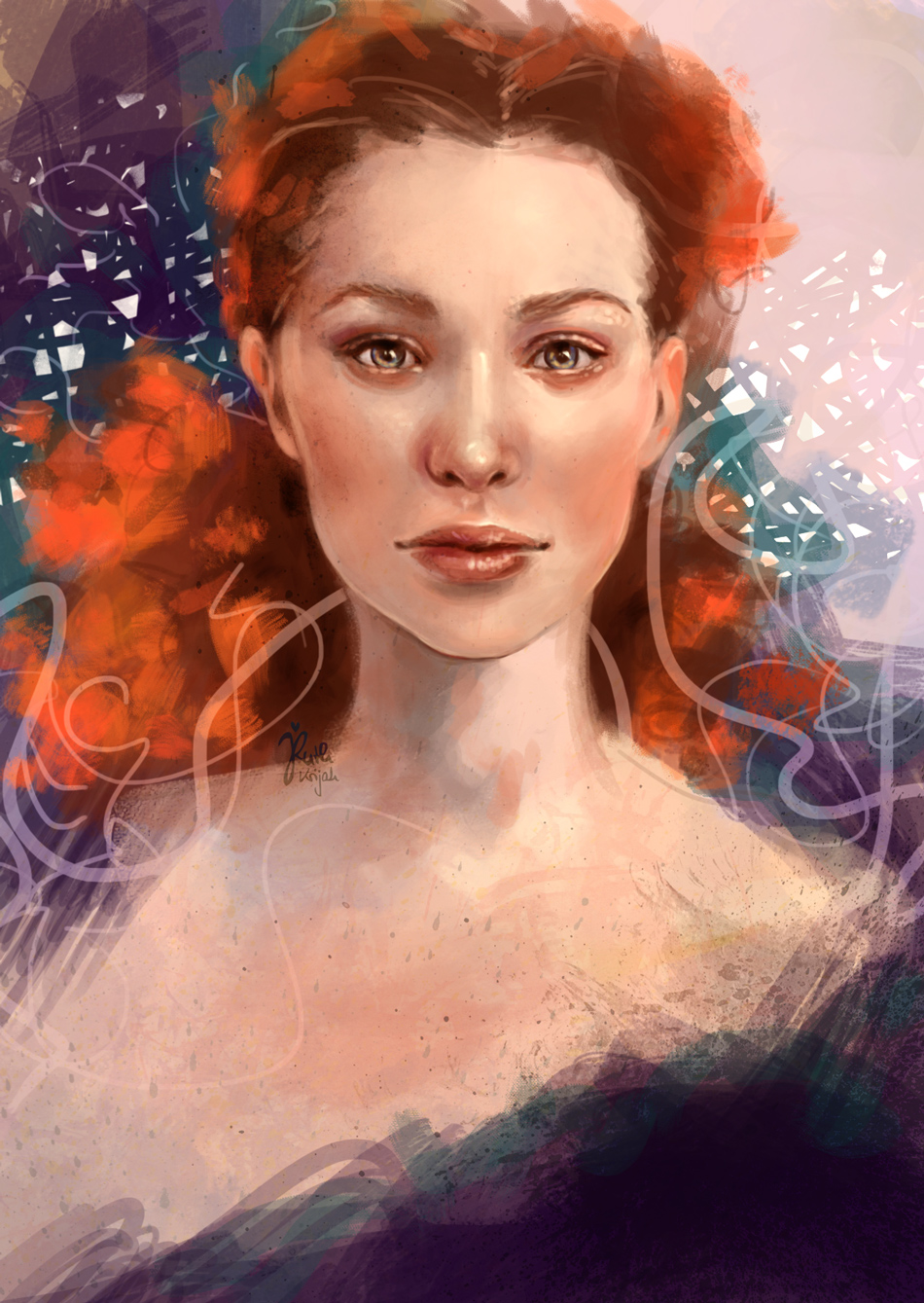 digital painting of white woman with wild orange hair. Inner Woman Portrait. By Artist Ruth Krijah
