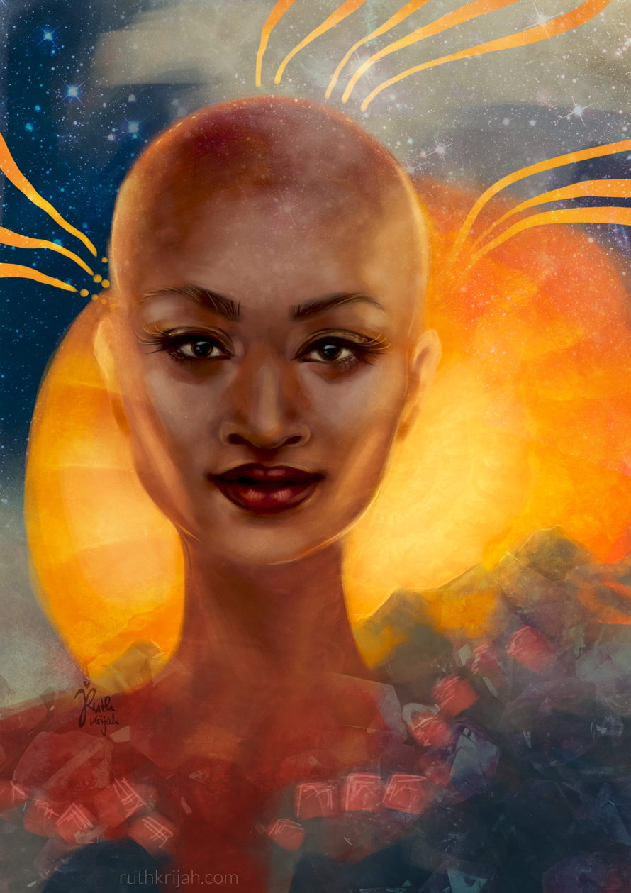 Digital Portrait of a bald woman. Looking straight at you with the eyes of a loving mother. Mama Gaia Portrait. Eternal Wisdom. Stars sparkle. Inner Woman Portrait. By Artist Ruth Krijah - inspired by and created for patrons at patreon.com/ruthkrijah