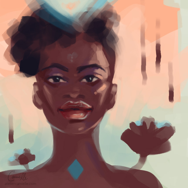 Digital Portrait Sketch of a black woman in a peach and mint green environment. Her throat chakra is glowing with rich blue. By Artist C'amiëlle / Ruth Jahn, 2020