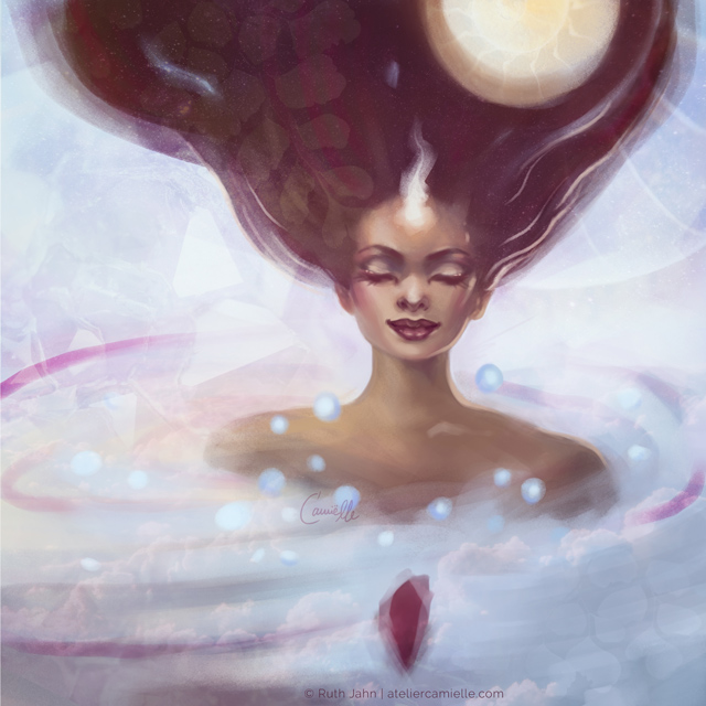 Digital Portrait of a Woman closed eyes immersed in clouds, her hair flowing up to the heavens and the full moon glowing. By Artist C'amiëlle / Ruth Jahn, 2020/21