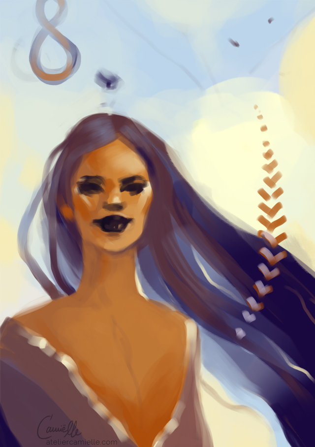 Digital Portrait Sketch, golden skinned woman with long blue flowy hair. Inspired by the essence of lavender and chestnut. By Artist C'amiëlle / Ruth Jahn, 2020