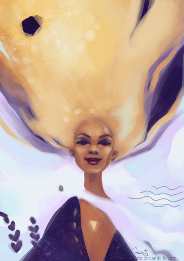 Digital Portrait of a woman with a waterfall of golden hair. She smiles knowingly. Inspired by the essence of lavender, the courage of a lion and crystal clear intuition, work in progress by Artist C'amiëlle / Ruth Jahn, 2020